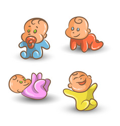 Baby set on white background vector