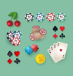 big set collection of casino gambling symbols vector image vector image