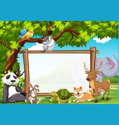 board template with wild animals in zoo vector image