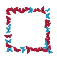 Butterflies frame Square pattern Border of vector image