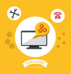Call center technology computer tool gear vector