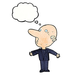 Cartoon confused middle aged man with thought vector