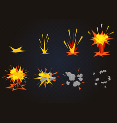 Cartoon front boom explosion effect with vector