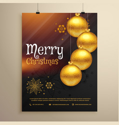 Christmas greeting flyer template with xmas balls vector