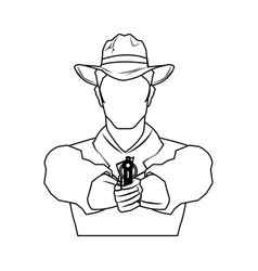 Cowboy man cartoon character modern western vector
