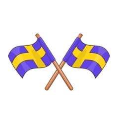 Crossed swedish flags icon cartoon style vector image vector image