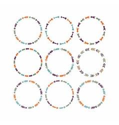Cute colorful circle arrow border patterns set vector image