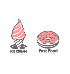 donut glaze icing ice cream set isolated vector image