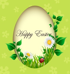 Easter egg card with plants and ladybug vector image