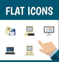 Flat icon laptop set of notebook display vector