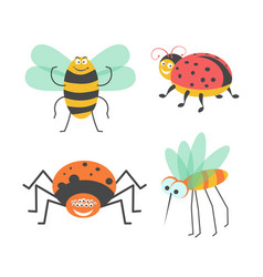 funny insects with cute faces isolated vector image vector image