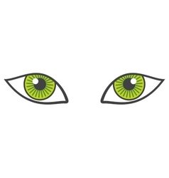 Green eyes isolated over white vector