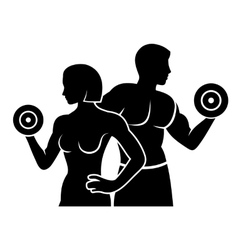 Man and Woman Fitness Silhouette Logo Icon vector image