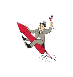 Man bowler hat riding fireworks rocket cartoon vector