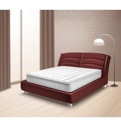 Mattress bed in home interior vector