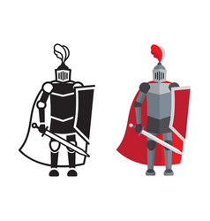 medieval knight icon and silhouette vector image vector image