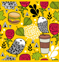 Seamless pattern with doodle birds and fast food vector