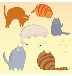 simple cats set vector image vector image