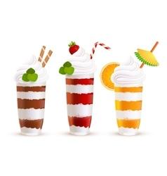 Sweet summer cocktails set vector image