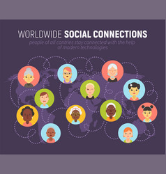 Women icons and social network community concept vector
