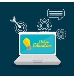 Laptop school set elements design vector