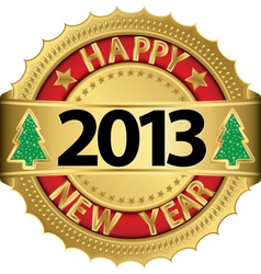 Happy new 2014 year golden label vector image