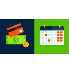 Money card and calendar icon isolated vector