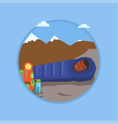 man sleeping in sleeping bag in the mountains vector image