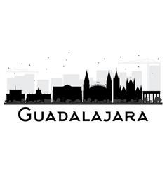 Guadalajara city skyline black and white vector