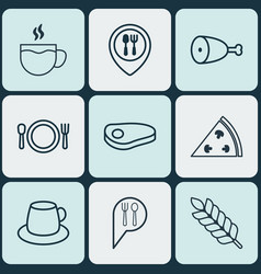 Set of 9 restaurant icons includes cutlery check vector