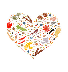 floral heart made of spices vector image