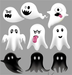 Halloween flying ghosts vector