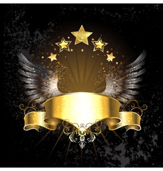 Gold ribbon with wings vector