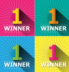 Flat design bright colors number one first place vector