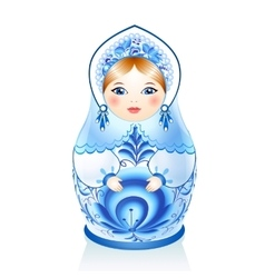 Blue russian doll matreshka in gzhel style vector
