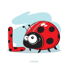 Cartoons alphabet - letter l with funny ladybug vector