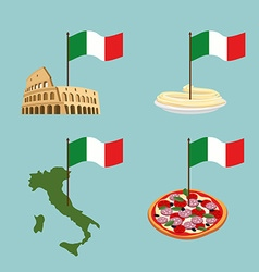 Set icon italy flag and map pasta and pizza vector