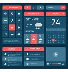 Red and blue set of mobile interface elements vector