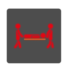 Sickness stretcher rounded square button vector