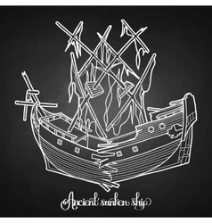 Ancient sunken ship vector