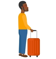 Man standing with suitcase vector
