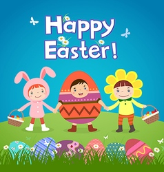 Cute children wearing easter theme costumes vector
