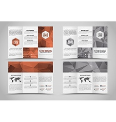 Design folding brochures with polygonal elements vector
