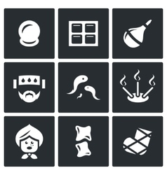 Set of alternative medicine icons vacuum vector