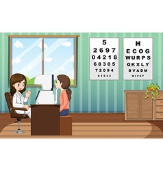 Eye doctor giving treatment to patient in clinic vector
