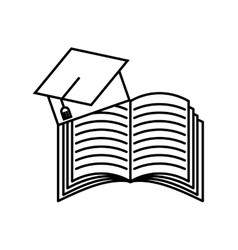 Book and graduation hat icon vector