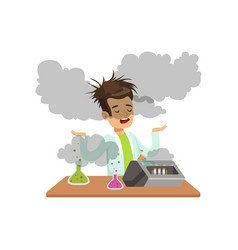 boy scientist after a failed experiment mixture vector image vector image