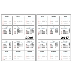 Calendar template 2016 2017 vector image vector image