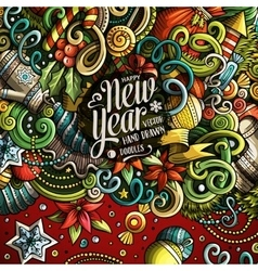 Cartoon cute doodles Happy New Year frame vector image vector image