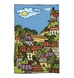 Cartoon landscape with city vector